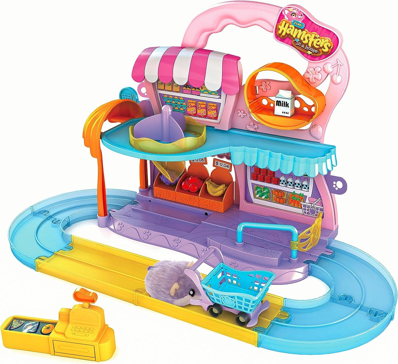 Hamster in a House Supermarket Set - Pistas para vehículos de Juguete (ZURU,, Multicolor, De plástico, Chica, LR44)