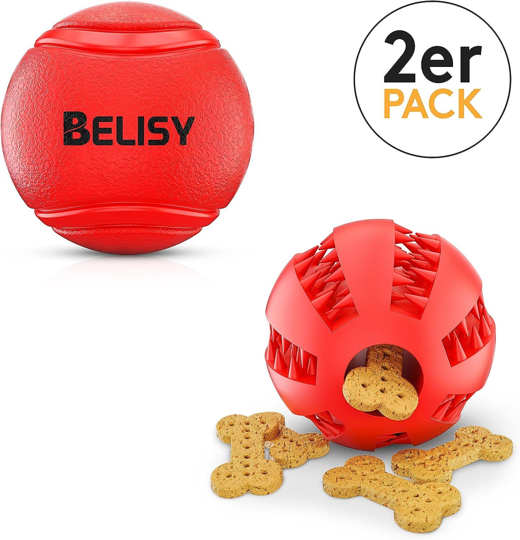 BELISY Conjunto de Juguetes para Cachorro y Perro | Pelota de Goma Suave (5cm) + Bolsillo de Adiestramiento y Entrenamiento | Juego de Actividades Portátiles | Bola de Ejercicio y Bolsa de