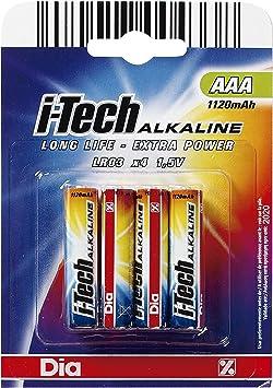 DIA - Pilas AAA I-Tech Alkaline Pack 4 Ud: Amazon.es: Electrónica