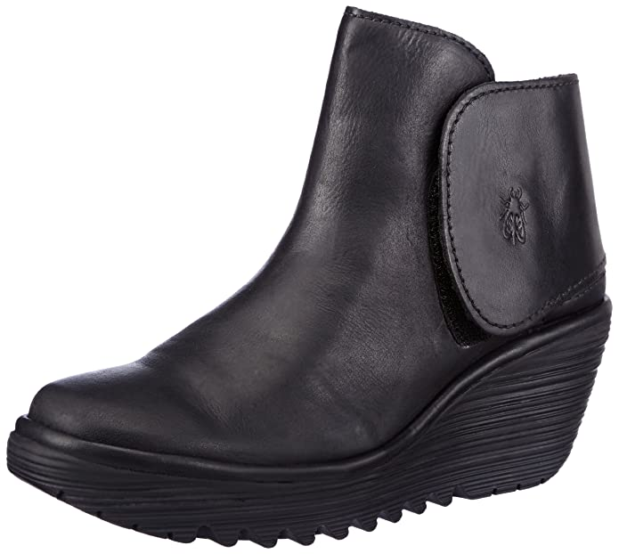 Amazon.com | Fly London Womens Yogi Platforms P500046031 Rug Leather Boots Black 6-6.5 | Shoes