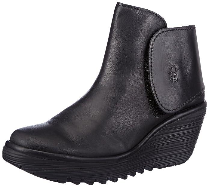 Amazon.com | Fly London Womens Yogi Platforms P500046031 Rug Leather Boots Black 6-6.5 | Shoes
