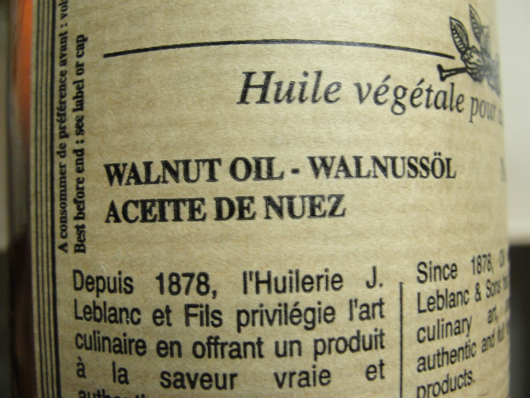 Jean LeBlanc French Walnut Oil Stone Mill cold pressed 16 fl oz