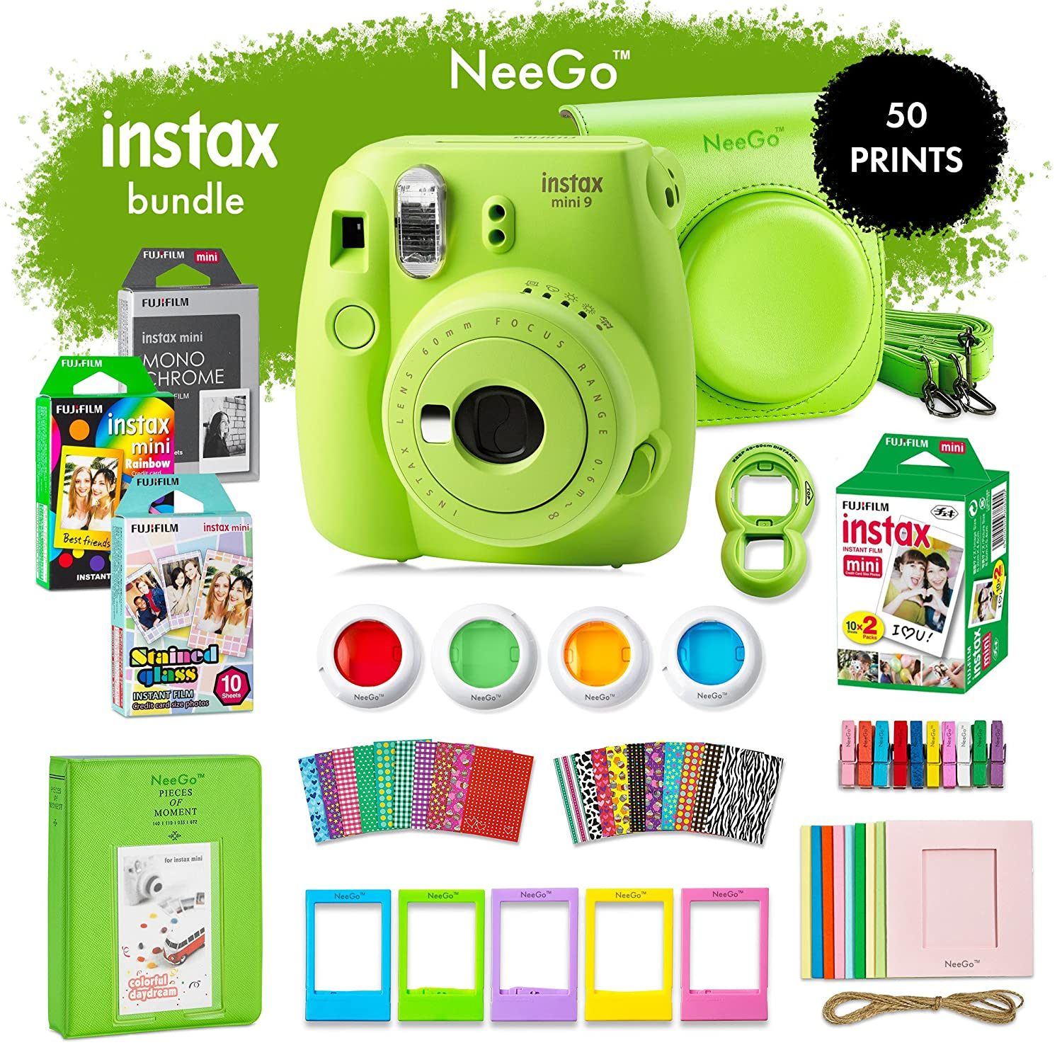 NeeGo Instax Mini 9 Instant Camera Bundle– Deluxe Kit With Camera, Matching Case & 4 Fun Film Packs– Rainbow, Stained Glass, Monochrome & White 50 Exposures For Instant Creative Photos (Ice)