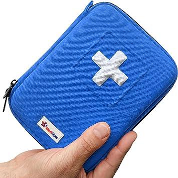 Botiquín de primeros auxilios de 100 piezas MediSpor, estuche semirrígido (azul): Amazon.es: Salud y cuidado personal