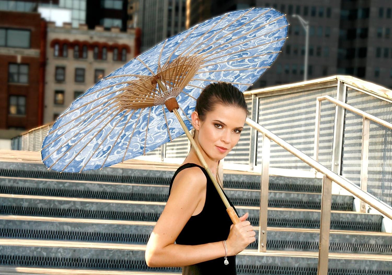 Lily-Lark Denim Vine UV protection sun parasol rated UPF 50+