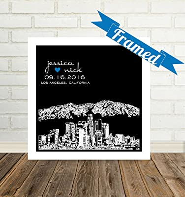 Los Angeles Skyline Personalized Wedding Gift Framed Art Los Angeles Art Los Angeles Print Los Angeles Gift Unique Wedding Gift for Couple Any City Available WORLDWIDE!
