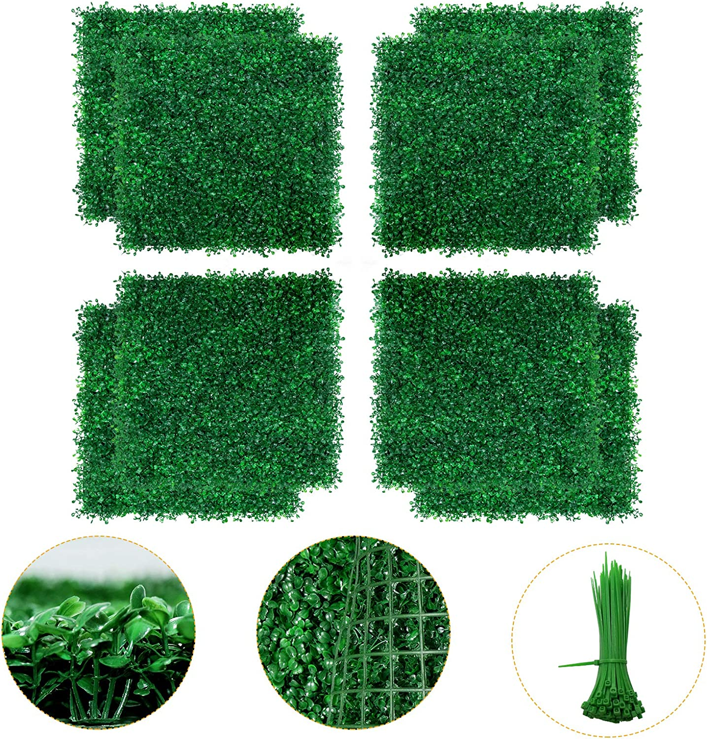 Boxwood Panel - 8PCS Artificial Boxwood Hedge Wall Panels, Faux Greenery Boxwood Hedge Mat for Indoor Wall Decor, 20 x 20 Inch Artificial Greenery Panels as Garden Fence Screen for Outdoor Decor