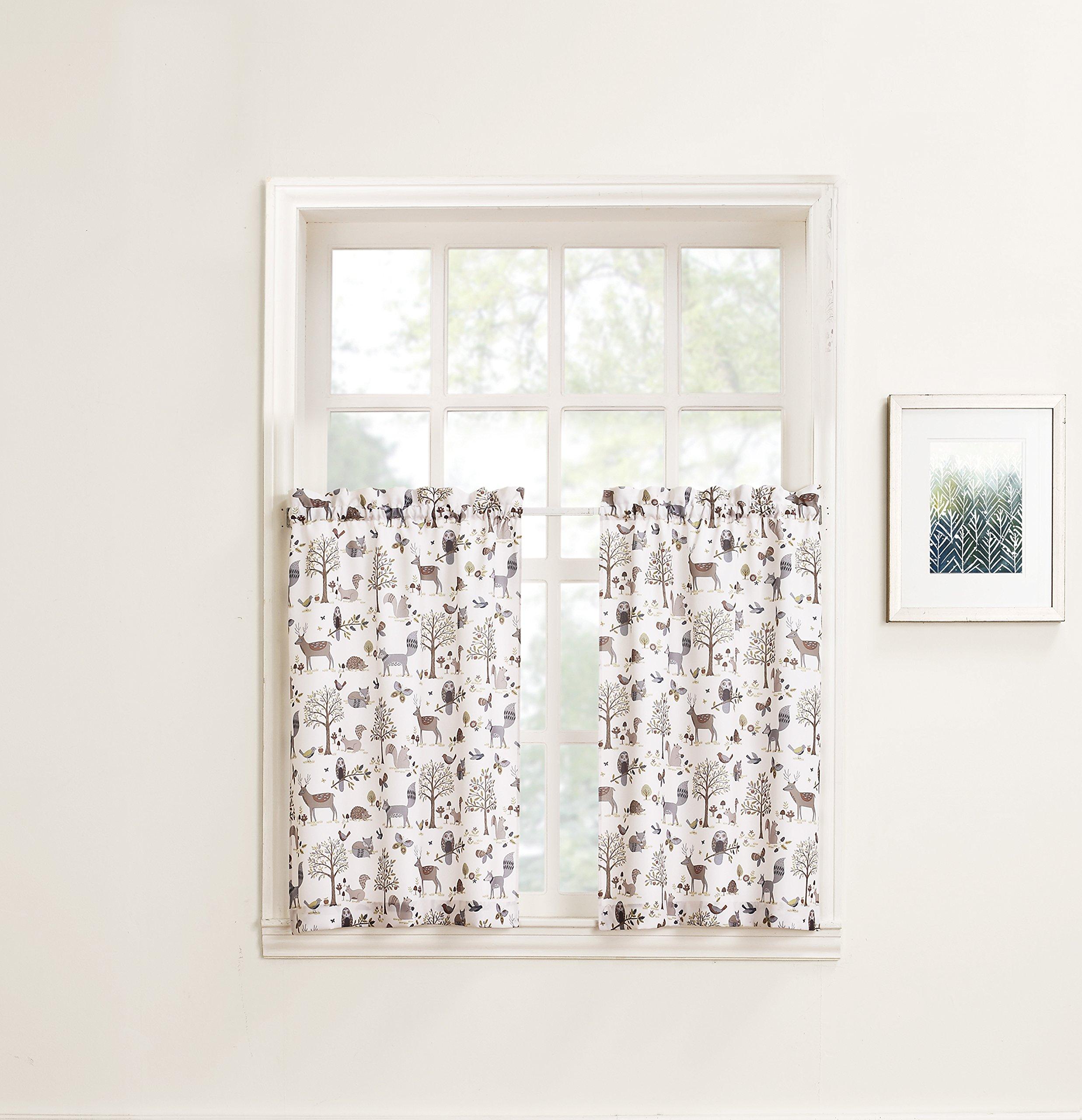No. 918 Forest Friends Animal Kitchen Curtain Tier Pair, 56'' x 36'', Ivory White
