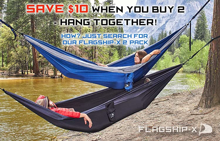 Flagship-X Double Camping Hammock with Tree Straps and survival bracelet fire starter. For backpacking, 2 person travel hammock