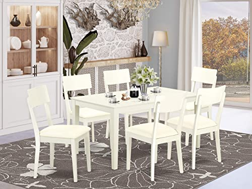 East West Furniture Rectangular Dinette Set 7 Pc-Linen White Color PU Leather Room Chairs Seat Finish Modern Dining Table and Structure