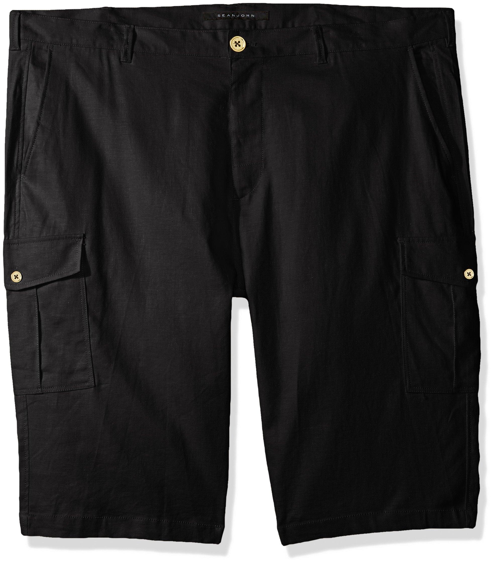 Sean John Men's Tall Size Solid Linen Cargo Shorts, pm Black 40T