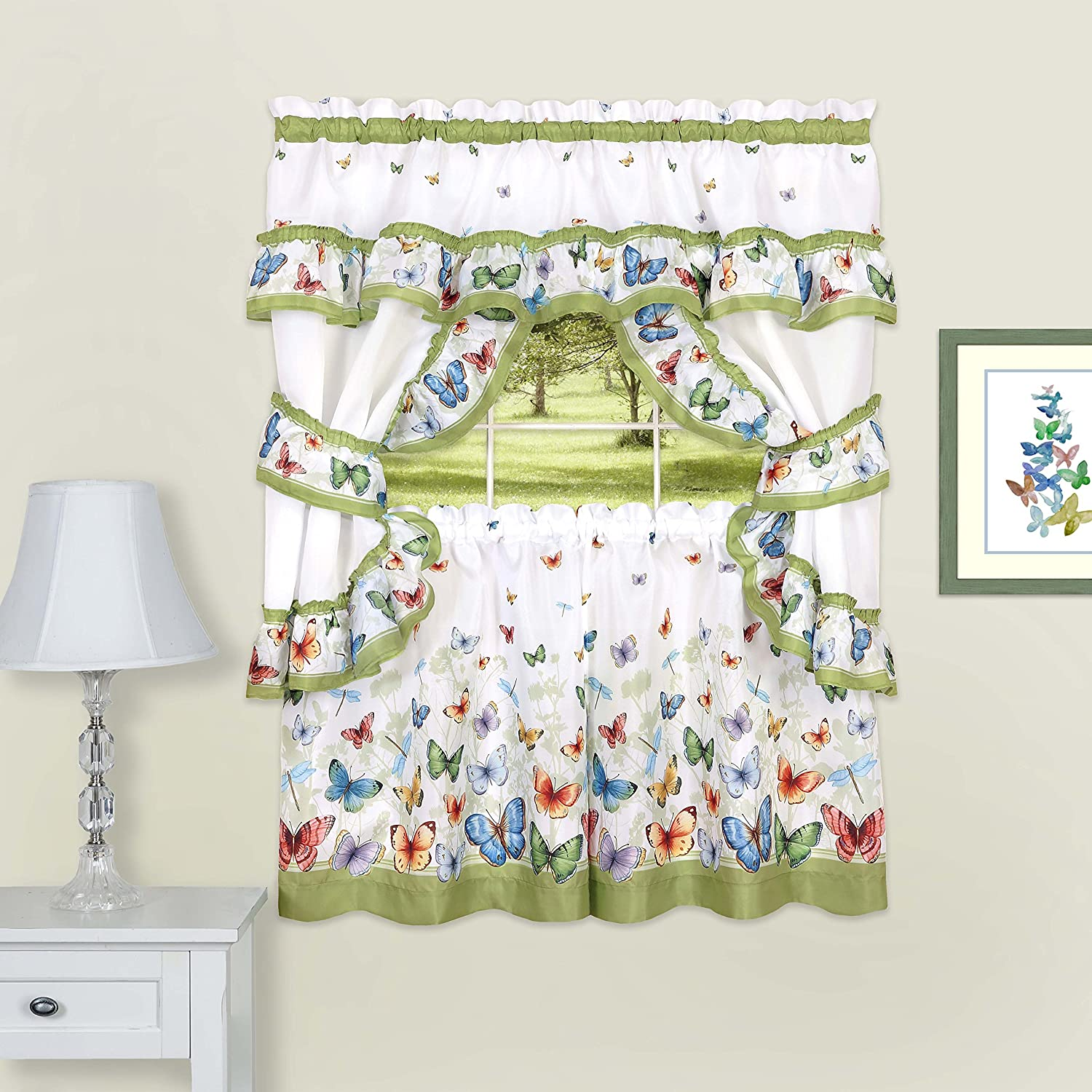 "Achim Home Furnishings Butterflies Printed Cottage Window Curtain Set, 57"" x 36"", Green"