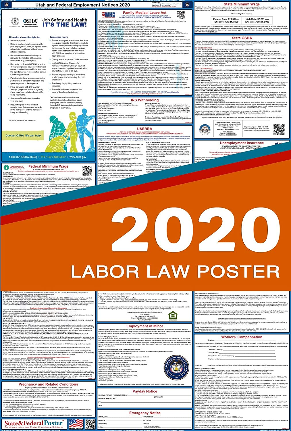 """2019 Utah State and Federal Labor Law Poster - Laminated 27"""" x 40"""""""