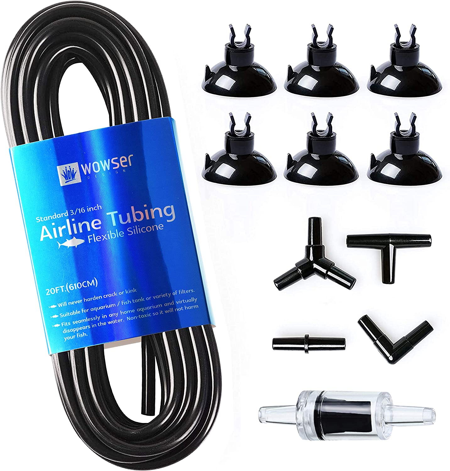 WOW Design 3/16-Inch Professional Flexible Airline Tubing Standard Aquarium Air Pump Accessories with Check Valves, Suction Cups and Connectors, 20 Feet (Clear-Black) : Pet Supplies