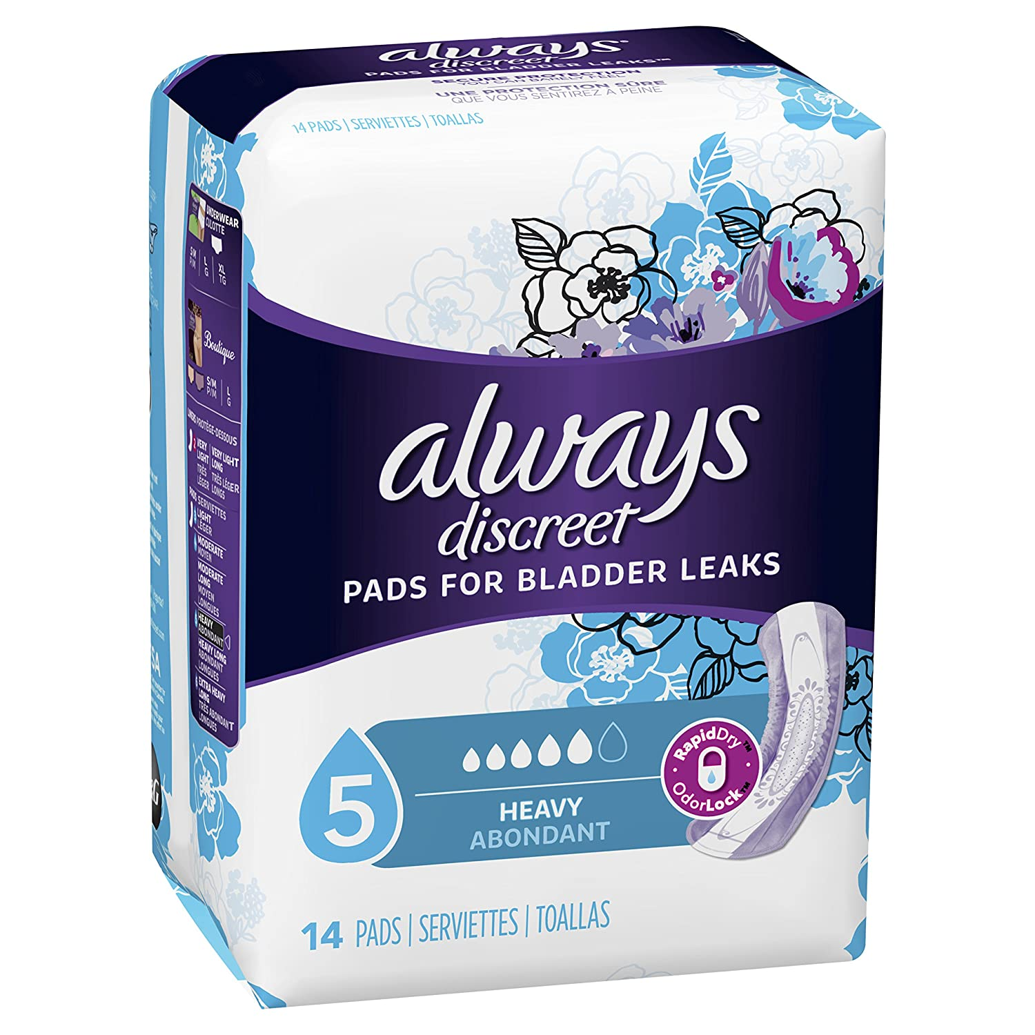 Amazon.com: Always Discreet Incontinence Pads, Maximum, Regular Length, 14 Count: Prime Pantry