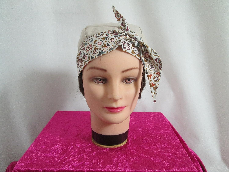 Foulard, turban chimio, bandeau pirate au féminin beige et ocre