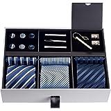 Premium Men's Gift Tie Set Silky Necktie Pocket Squares Tie Clips Cufflinks For Men