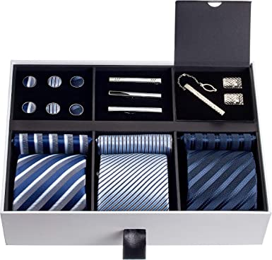 Cufflinks Handkerchief Perfect for for Business Wedding Gift Ideal Tie Clip 6 Pcs Mens Tie Necktie Set