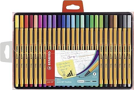Rotulador punta fina STABILO point 88 - Estuche con 25 colores: Amazon.es: Oficina y papelería