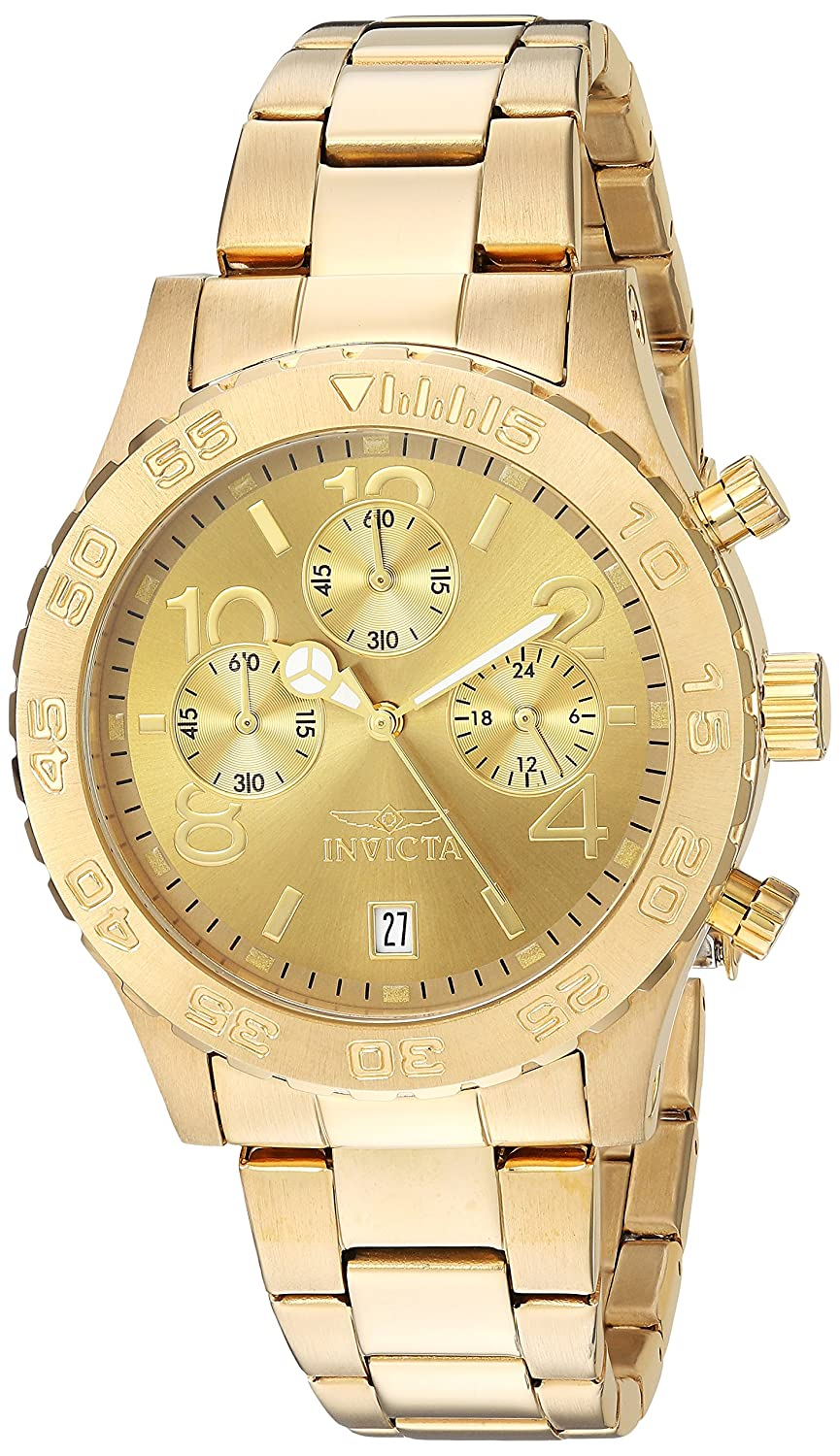Invicta Women s 1279 II Collection Chronograph Gold Dial 18k Gold Toned Stainless Steel Watch