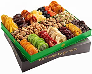Holiday Nuts & Dried Fruit Gift Basket – Selection of 18 Food Tray – Gourmet Snack Box for Mothers Day, Fathers Day, families, Men, Women, Holiday, Christmas, Thanksgiving, Sympathy, Birthday
