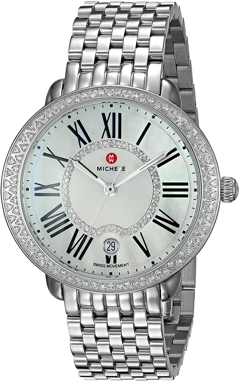 MICHELE Women s Serein Swiss-Quartz Watch with Stainless-Steel Strap, Silver, 16 Model MWW21B000030