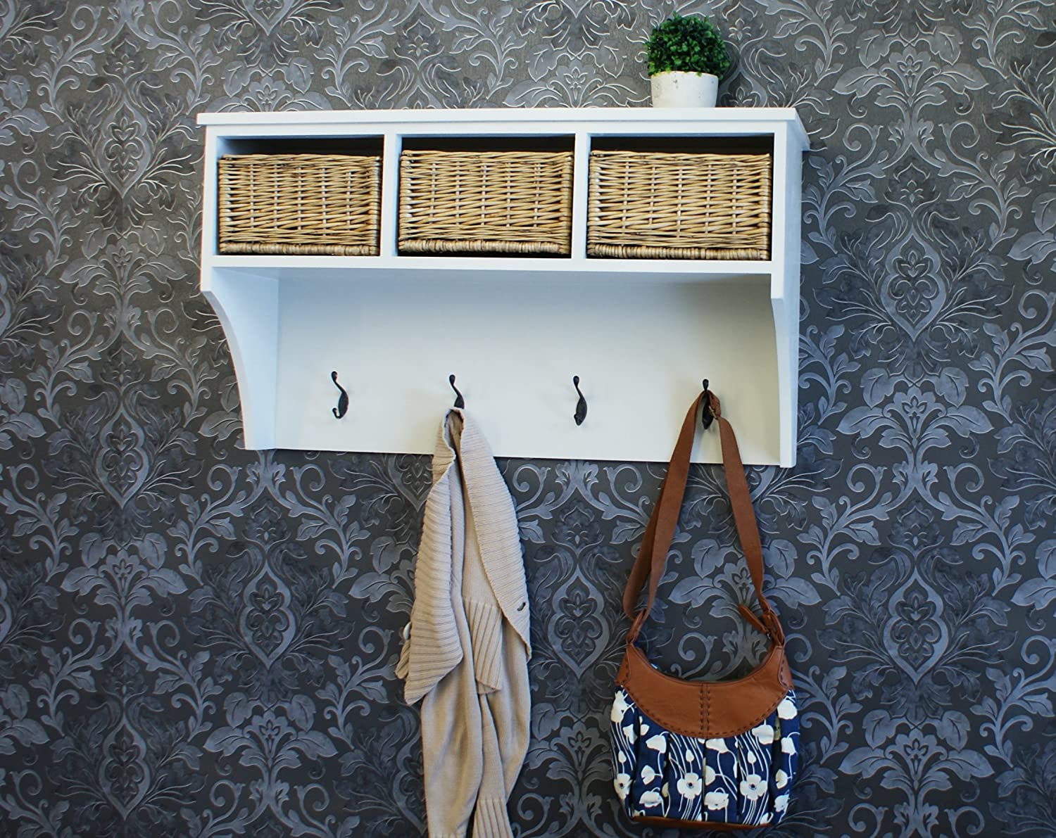 Gloucester Hallway Wall Hanging Coat Rack In Pearl White Finish With Hooks  And 3 X Wicker Rattan Basket Drawers, Farmhouse Style: Amazon.co.uk:  Kitchen U0026 ...
