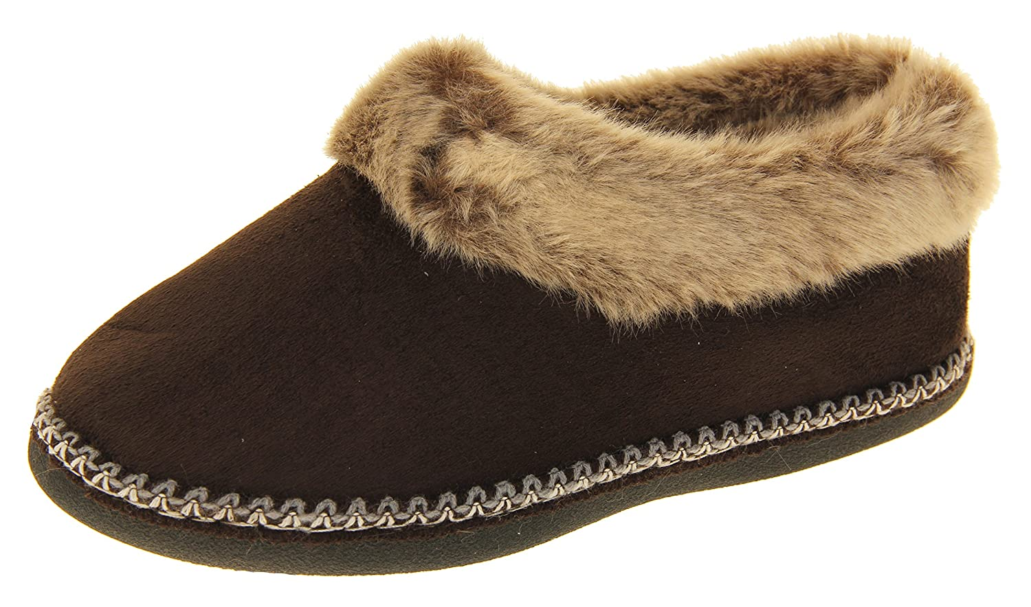 US Coolers Womens Brown Synthetic Fur Lined Slippers 8 B M