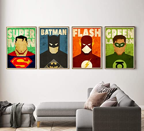 Amazon.com: Batman Poster, Superman Print, Superhero wall ...