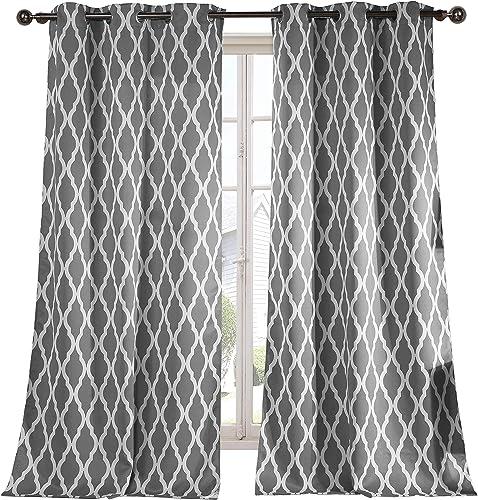 Geometric Blackout Room Darkening Thermal Insulated Grommet Window Curtain Pair Panel Drapes for Living Room, Bedroom, Kids Room, Children, Nursery – Set of 2 Panels – 38 x 112 inch – Grey