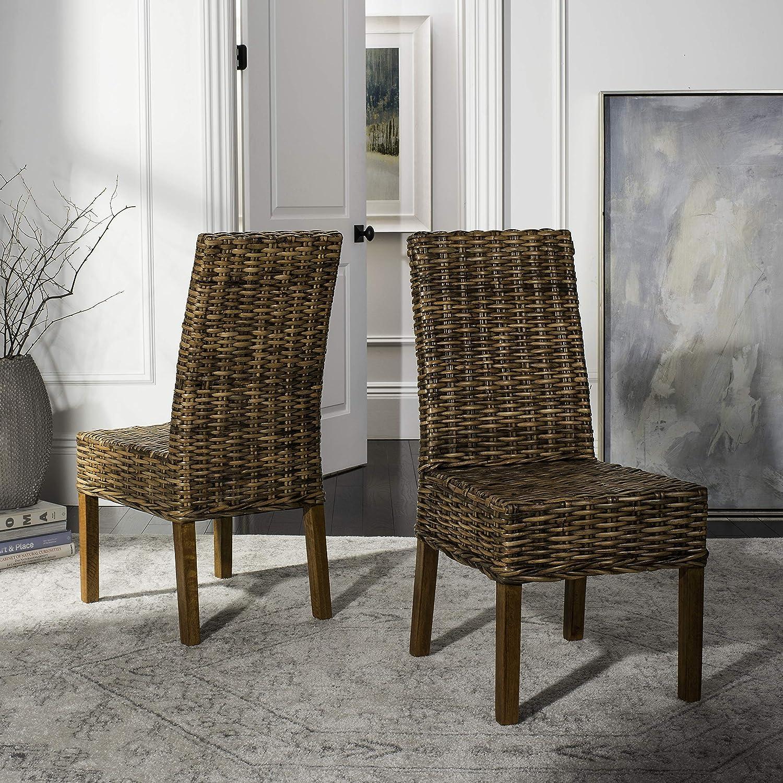 Safavieh Home Collection Aubrey Walnut Wicker Side Chair, Set of 2