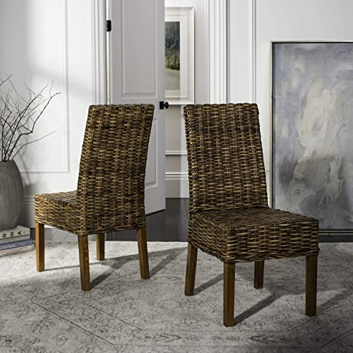 Safavieh Home Collection Aubrey Walnut Wicker Side Chair, Set of 2