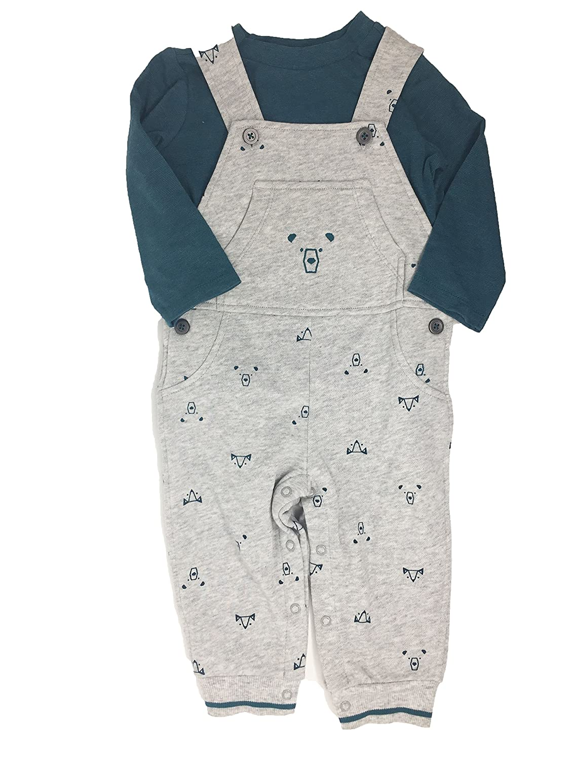T-Shirt Bear Coverall Heather Grey First Impressions Baby Boys 2-Pc