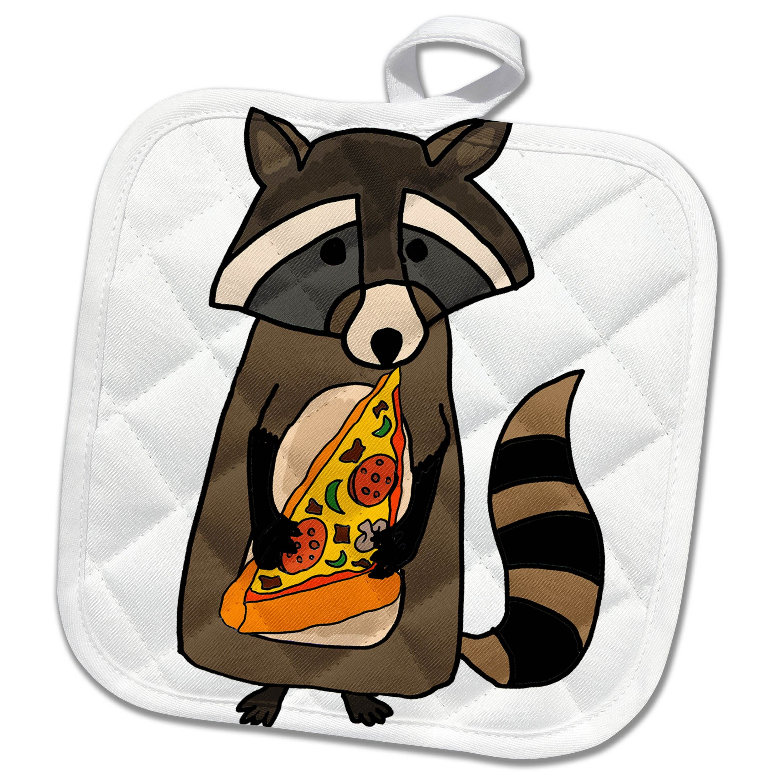 3dRose All Smiles Art Animals - Funny Cute Raccoon Eating Pizza Slice - 8x8 Potholder (phl_255704_1)