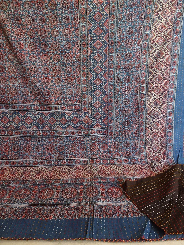 janki creation Queen Size Hand Block Print Kantha Quilt 90x108 Inch Ajrakh Kantha Bedspread Vegetable Dye Kantha Blanket Indigo Print Ajrakh Kantha Quilt
