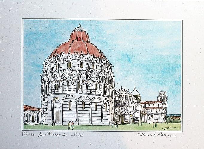Pisa Karte.Quadrat Der Wunder Pisa Original Druck Von Dem Künstler Davide