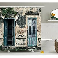 Rustic Shower Curtain Decor , Doors of An Old Rock House with French Frame Details in Countryside European Past Theme…