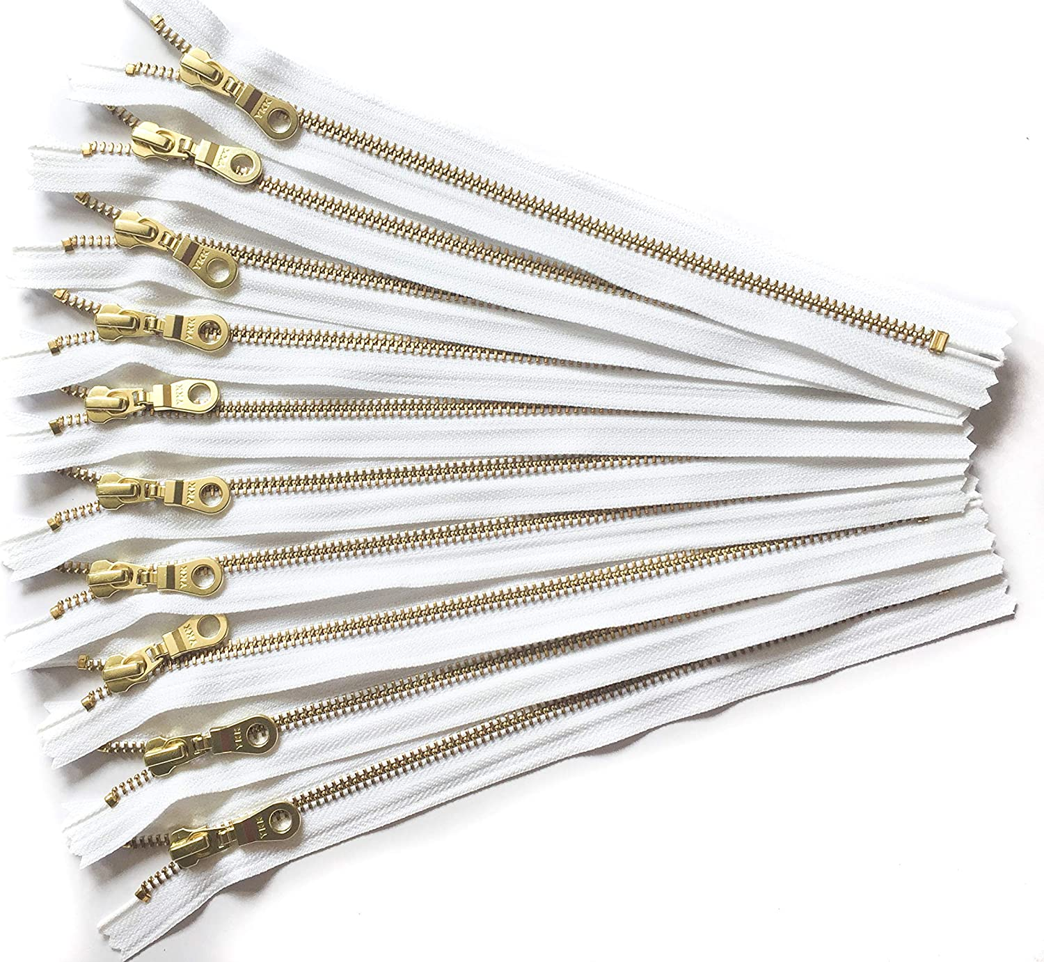 YKK Gold Metal Zippers with Donut Pull 14 Inch Number 5 in White Set of 12 Pieces by Craftbot