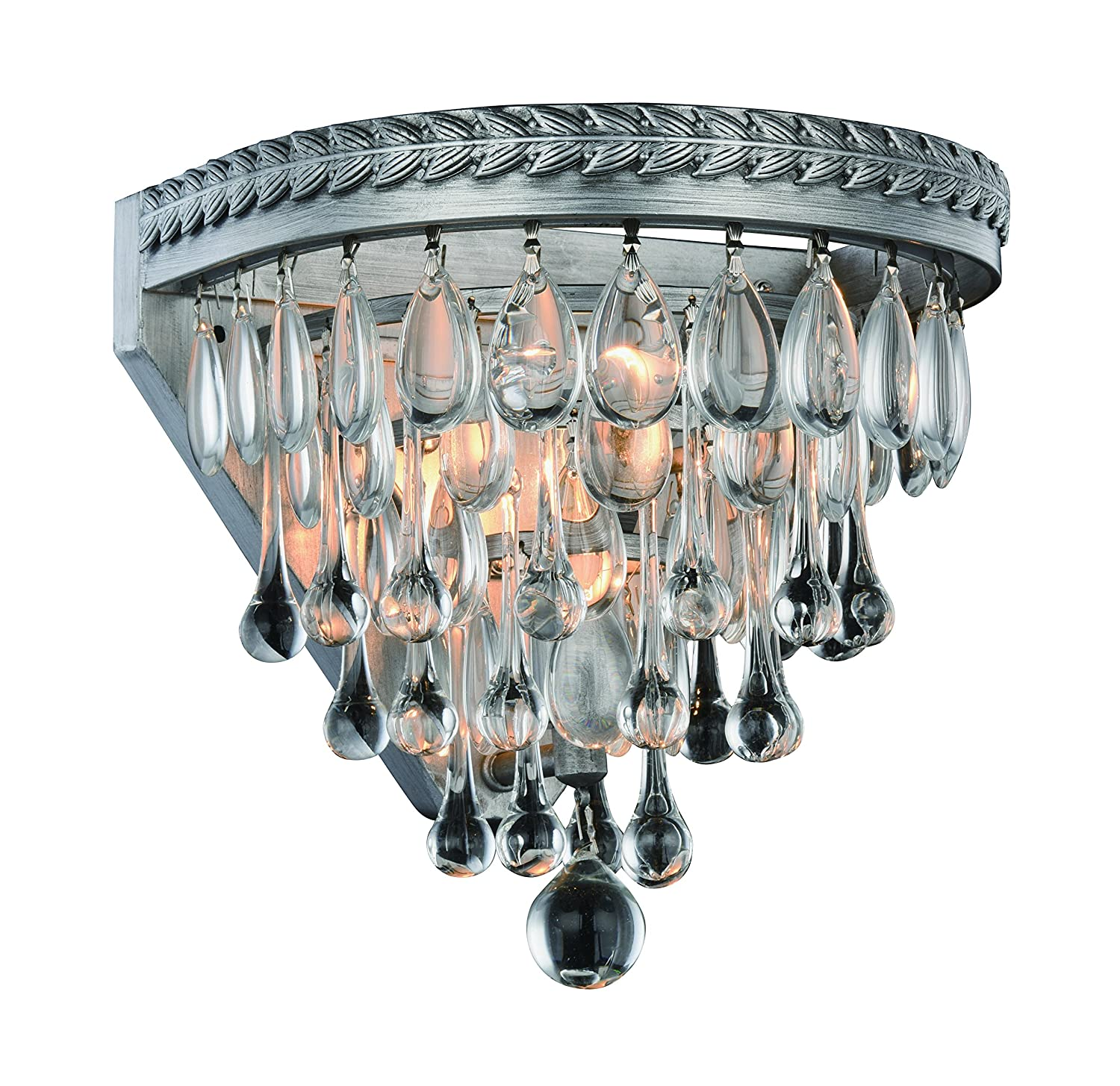 8 x 9 x 9 Antique Silver Finish OmniLucent ARCW9AS-3657 Nautic Collection Wall Sconce with 1 Light and Clear Crystals