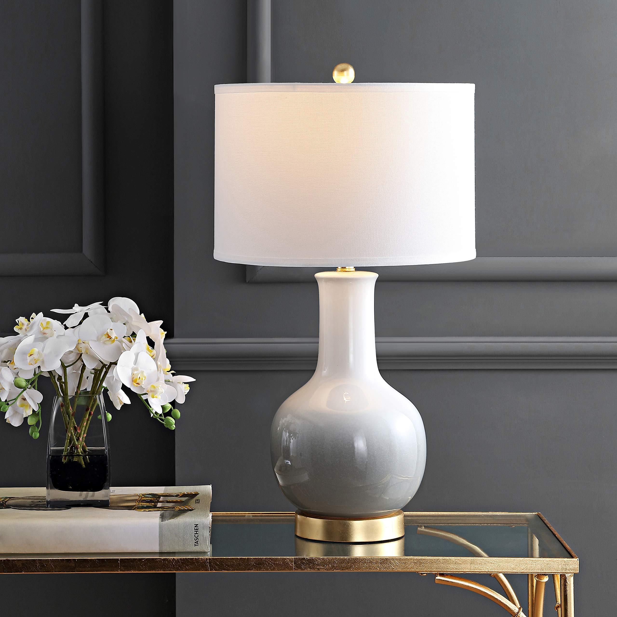Safavieh TBL4032A Lighting Collection Alfio White Table Lamp, Grey/Gold