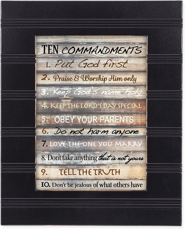 Contemporary Ten Commandments Black with Gold Trim 8 x 10 Framed Wall Art Plaque