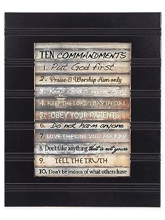 Amazon.com: Contemporary Ten Commandments Black with Gold Trim 8 x ...