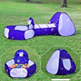 Homfu Kids Tent with Tunnel Pop-Up Playhouse with Ball Pit and Basket Hoop for Children&Toddler to Crawl Birthday Gift Play T