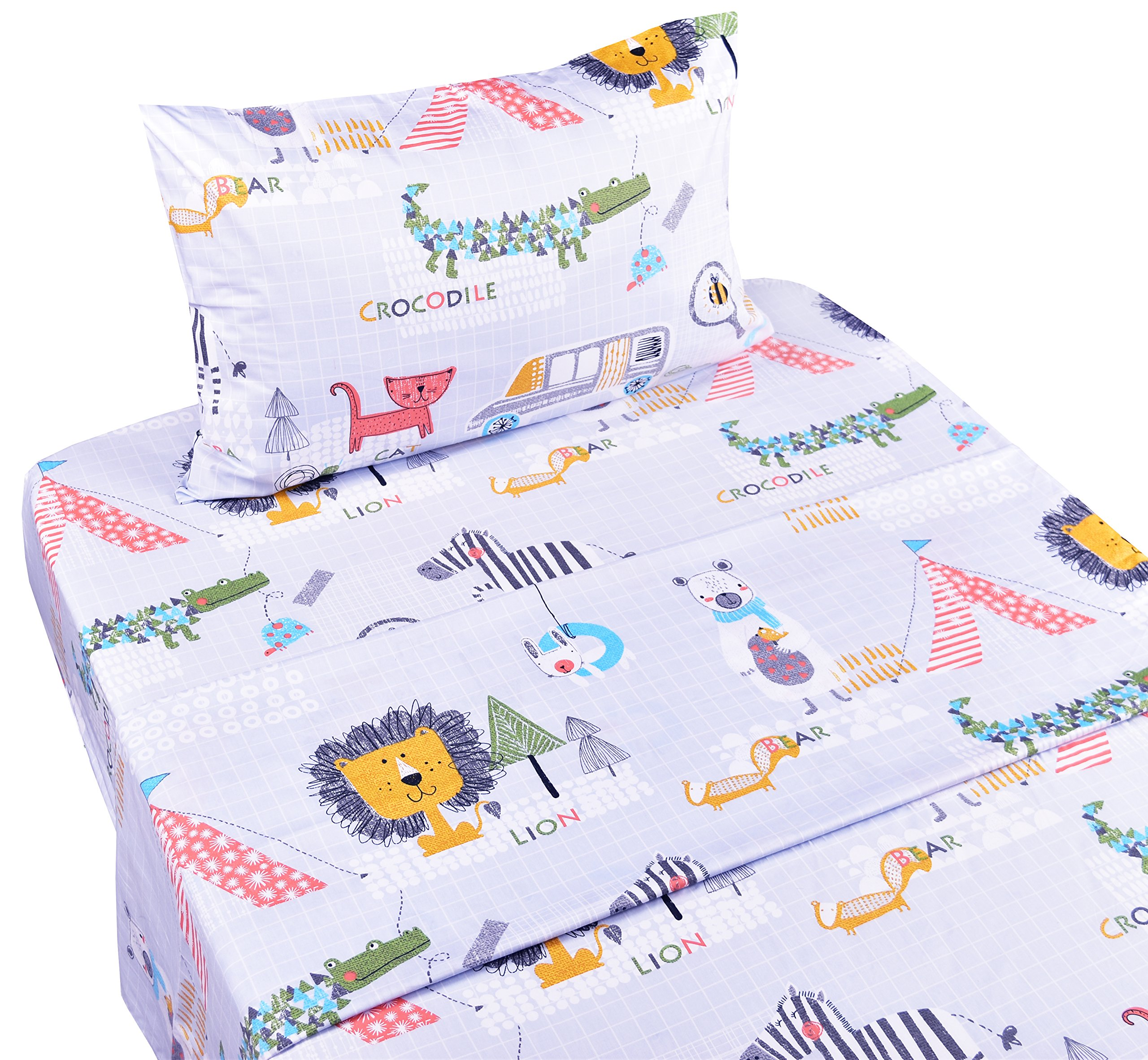 Jungle Animals Lion Zebra Crocodile at City Cotton Cozy Twin Bed Sheet Set for Boys, Flat Sheet & Fitted Sheet & Pillowcase Natural Bedding Set (7, Twin)