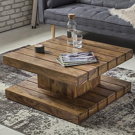 Finebuy Sheesham Couchtisch Lodi Massiv Holz 80 X 80 X 40 Cm Quadratisch Braun Wohnzimmertisch Landhaus Stil Modern Beistelltisch Wohnzimmer