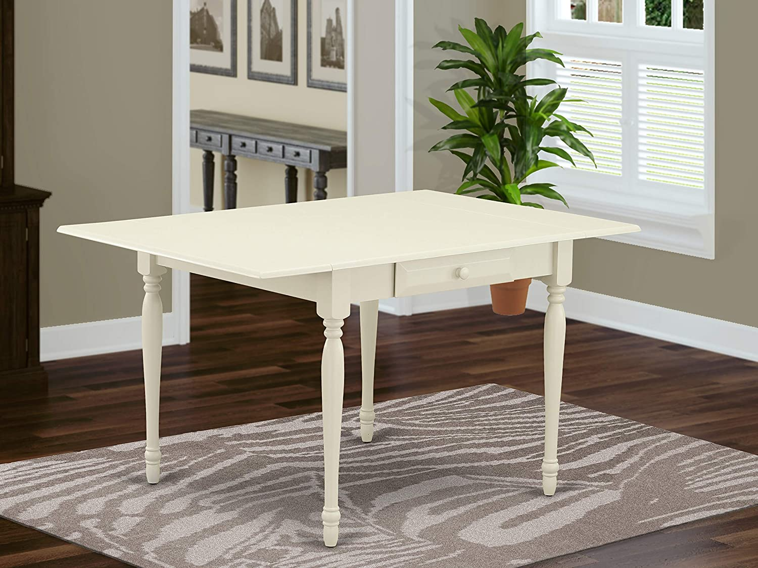 "East West Furniture Monza Rectangular Table 36""X54"" With 2 Drop Leaves Leaf In Linen White Finish, Medium"