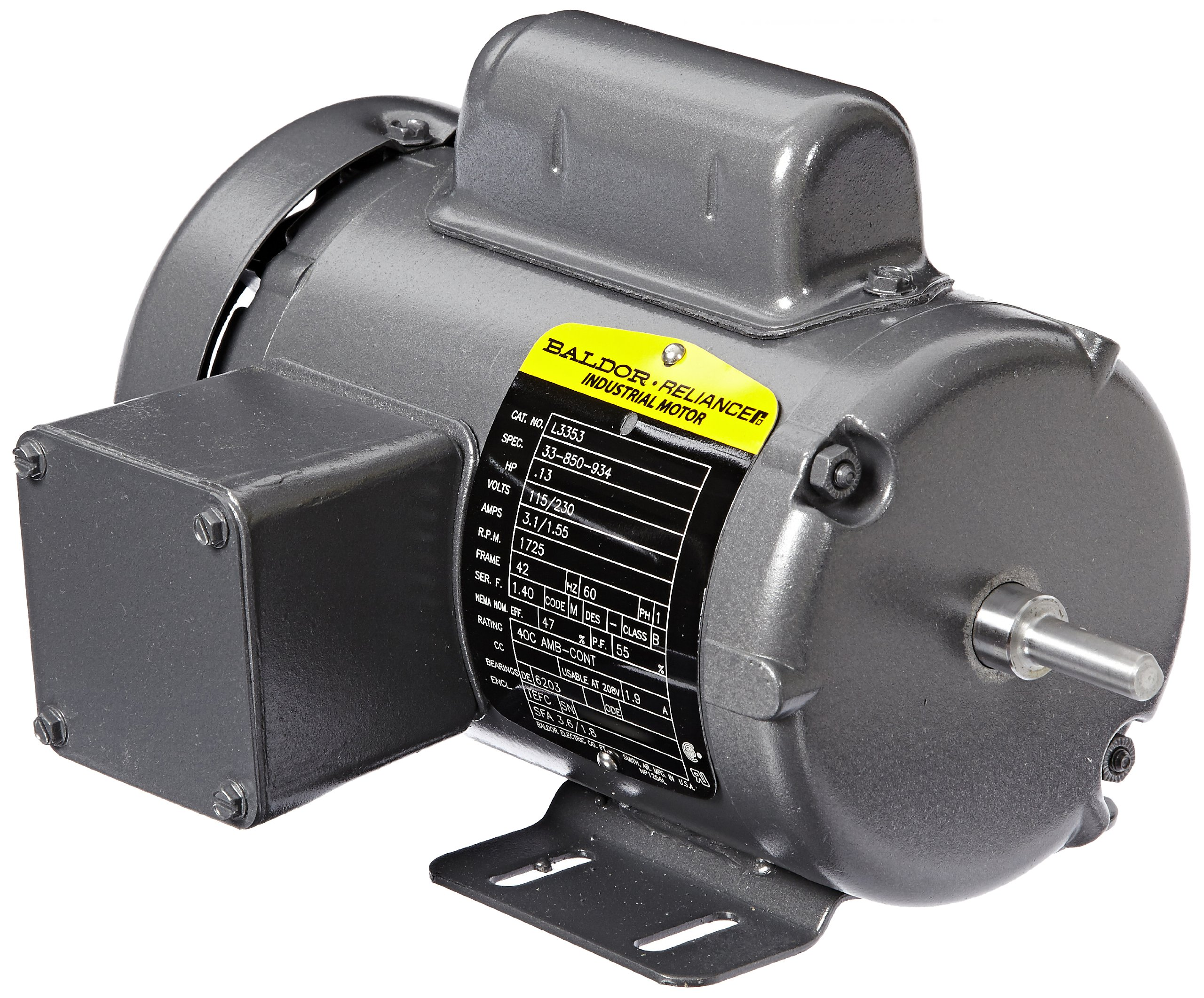 Baldor L3353 General Purpose AC Motor, Single Phase, 42 Frame, TEFC Enclosure, 13/100Hp Output, 1725rpm, 60Hz, 115/230V Voltage