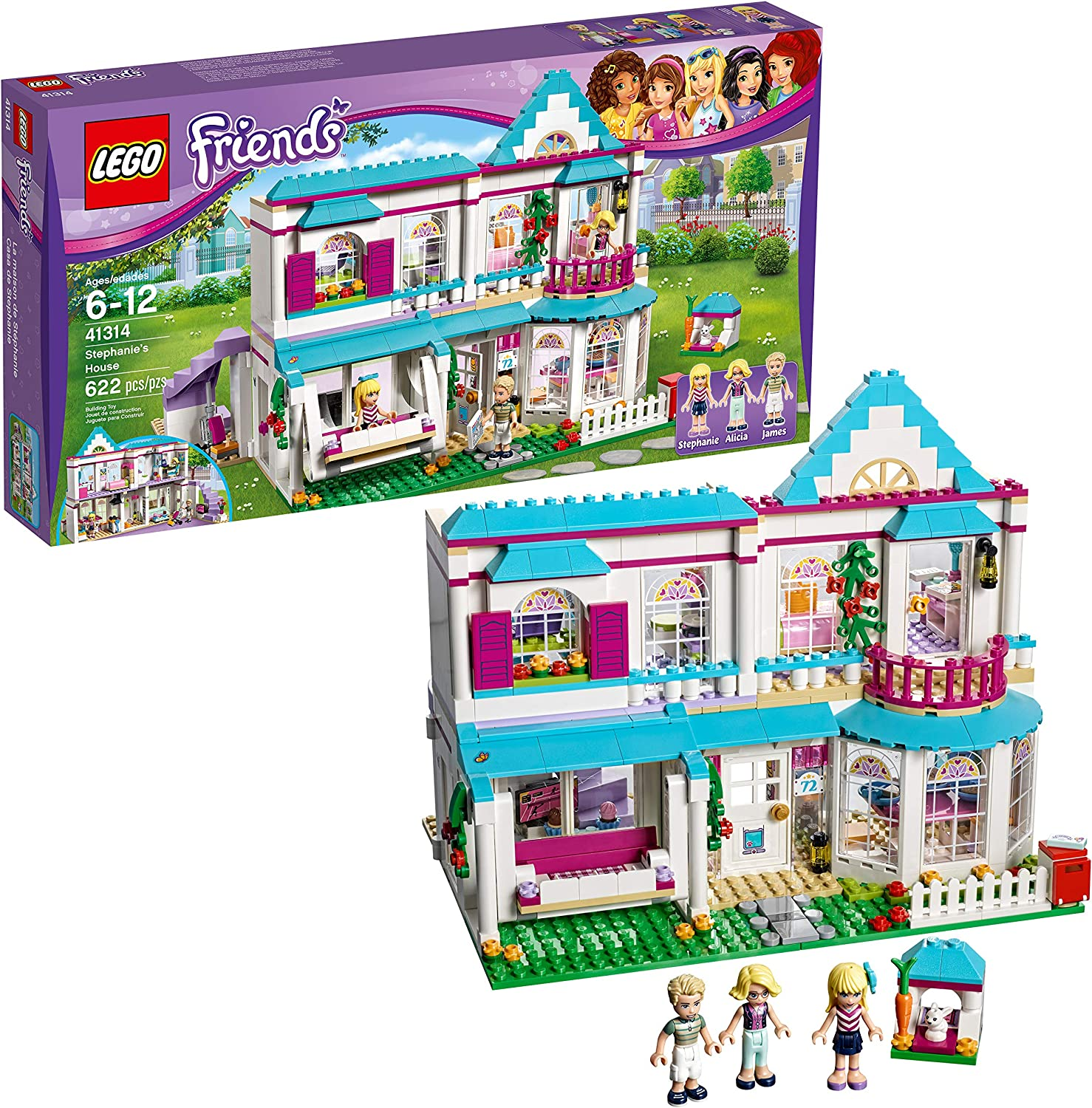 Amazon Com Lego Friends Stephanie S House 41314 Build And Play Toy House With Mini Dolls Dollhouse Kit 622 Pieces Toys Games