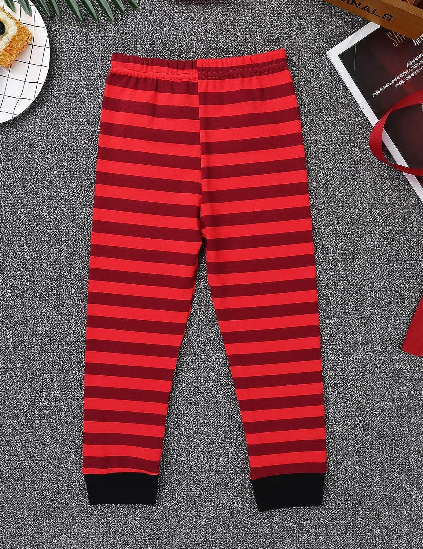 iEFiEL Kids Boys Girls 2PCS Cartoon Print Pajamas Outfits Cotton Long Sleeves Tops with Pants Sleepwear Nightwear