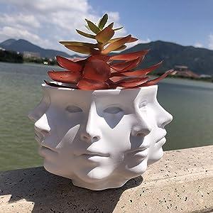 Multi-Face Succulent Planter Vase Small Face Plante Head Face Vase Home Decoration Succulent Cactus Indoor Plant Pot